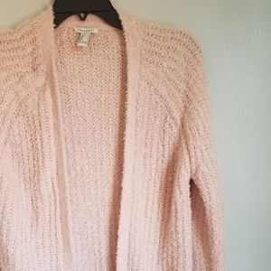 Forever 21 Sherpa Knit Shaggy Blush Long Cardigan